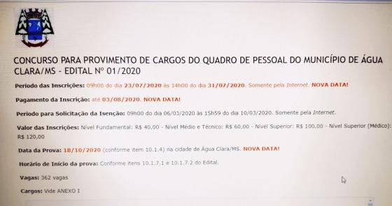 Prefeitura de Água Clara reabre inscrições para o Concurso Público por mais uma semana
