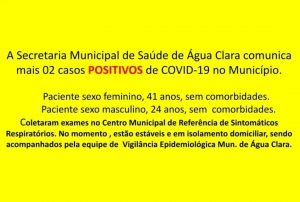 Água Clara tem mais dois casos confirmados de Covid-19