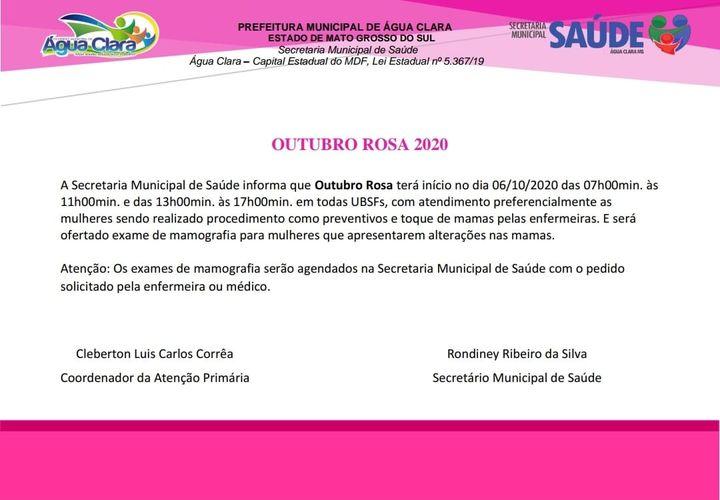 Outubro Rosa: Confira a programação em Água Clara