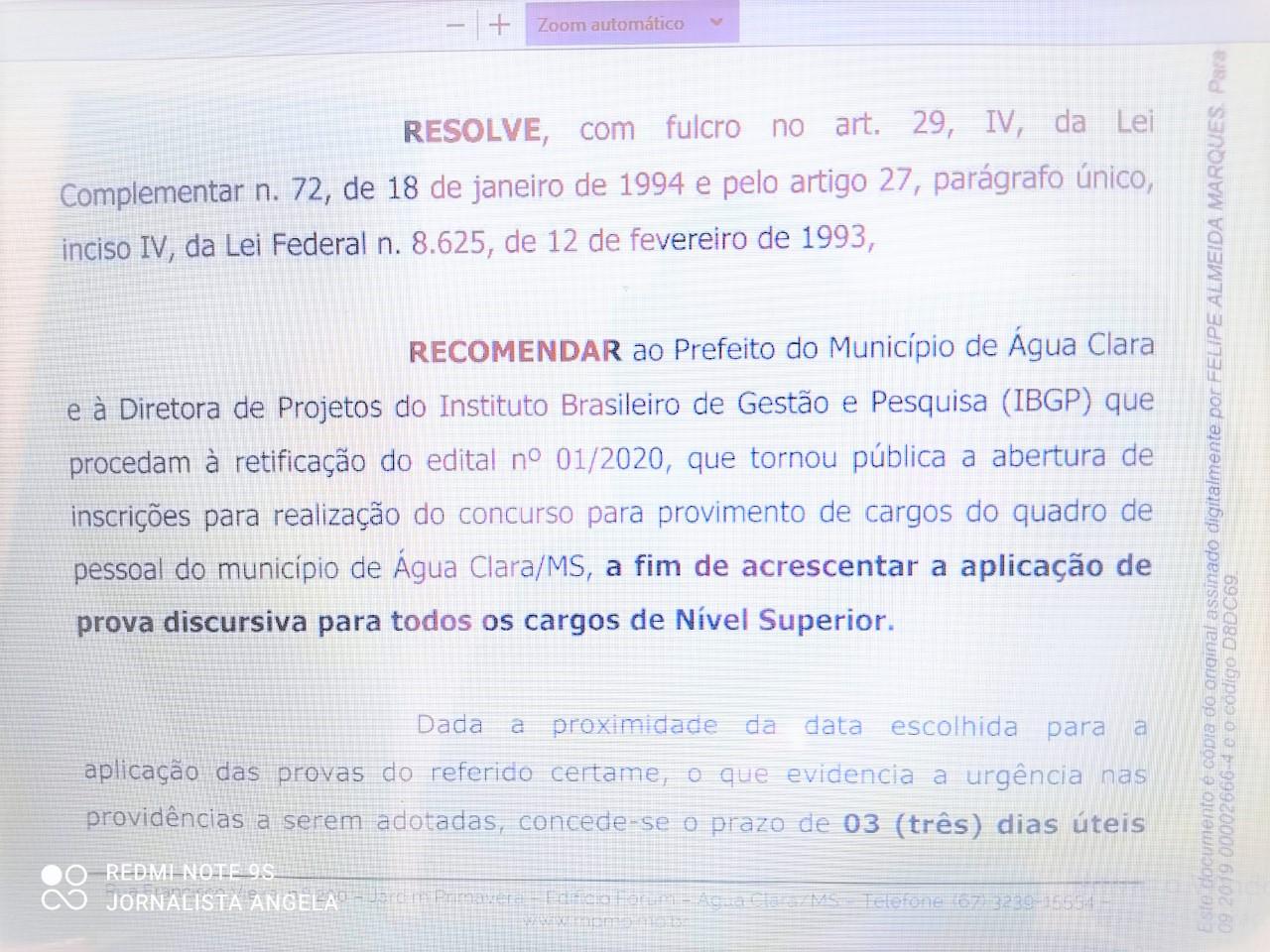 Concurso da Prefeitura: MP recomenda prova discursiva para todos os cargos de nível superior