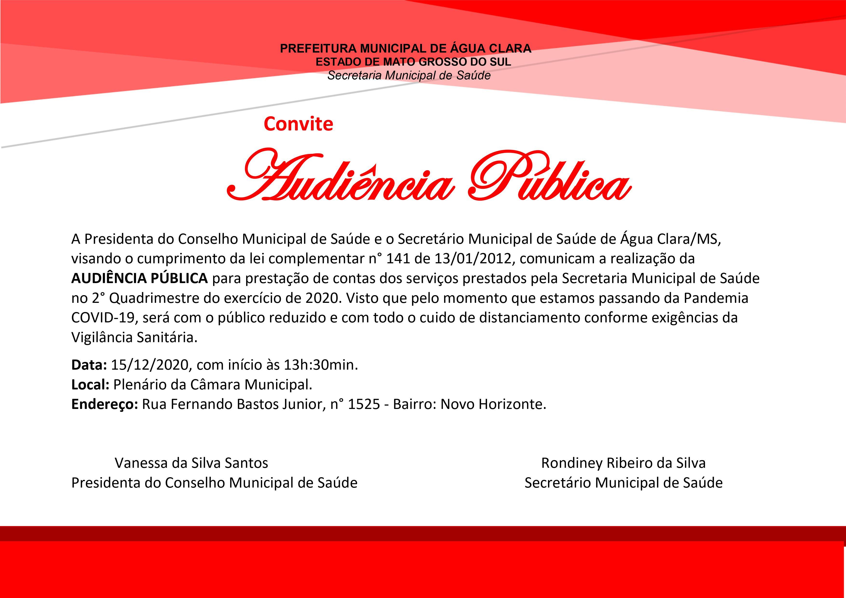 Saúde realiza na próxima terça-feira Audiência Pública de Prestação de Contas. Participe!