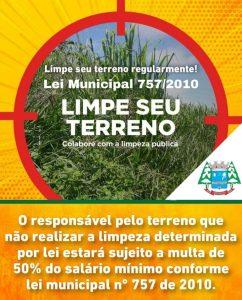 Fiscalização aplicará multas à proprietários com terrenos baldios considerados sujo conforme Lei