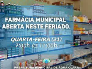 FARMÁCIA MUNICIPAL ESTARÁ EM FUNCIONAMENTO NESTE FERIADO