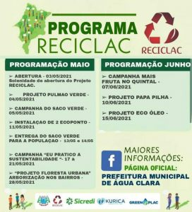 A Secretaria de Meio Ambiente e Turismo apresenta o Programa RECICLAC, com objetivo de conscientização sobre o Meio Ambiente e Ações Sustentáveis.
