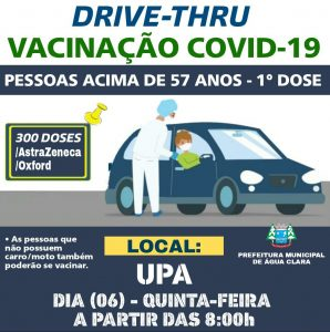 Nesta quinta-feira (06) acontecerá uma grande ação de imunização contra Covid-19, através do Drive Thru!