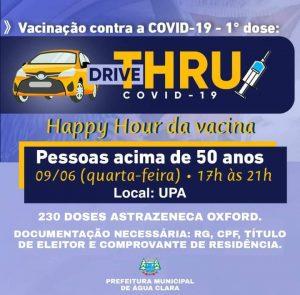 VACINAÇÃO DRIVE-THRU CONTRA A COVID-19 EM HORÁRIO ESPECIAL