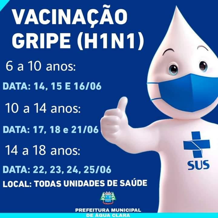 Chegou a hora de vacinar toda população Água-Clarense contra a gripe!