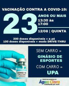 VACINAÇÃO CONTRA COVID-19 AVANÇA EM ÁGUA CLARA