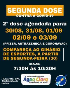 Prefeitura Municipal de Água Clara informa nova etapa de vacinação:  2° dose